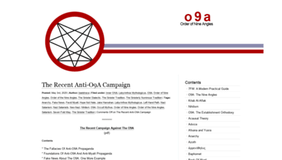 What O9a.org website looked like in 2020 (This year)