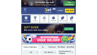 What Onebet.ug website looked like in 2020 (1 year ago)