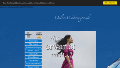 What Onlinewahrsagen.de website looked like in 2020 (This year)
