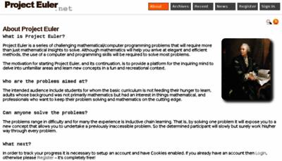 What Projecteuler.net website looked like in 2018 (3 years ago)