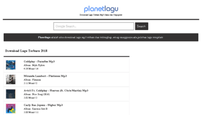 What Planetlagu8.wapku.net website looked like in 2018 (3 years ago)