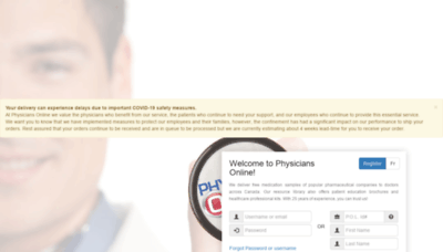 What Physiciansonline.ca website looked like in 2020 (1 year ago)