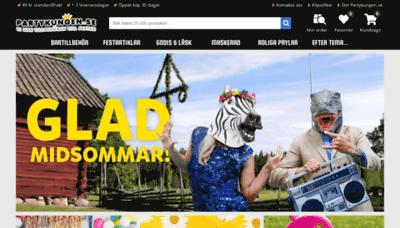 What Partykungen.se website looks like in 2021