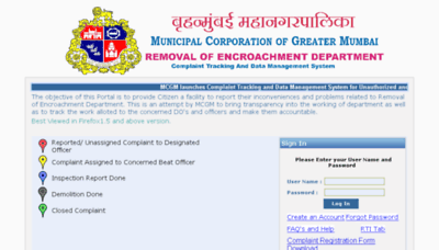 What Removalofencroachment.mcgm.gov.in website looked like in 2018 (3 years ago)