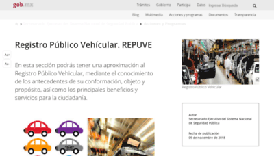 What Repuve.gob.mx website looked like in 2019 (2 years ago)