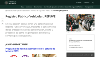 What Repuve.gob.mx website looked like in 2019 (1 year ago)