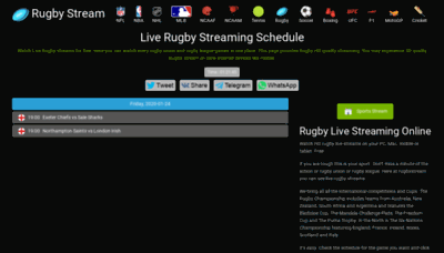 What Rugbystream.me website looked like in 2020 (1 year ago)