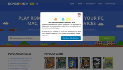 What Romsmania.cc website looked like in 2020 (1 year ago)