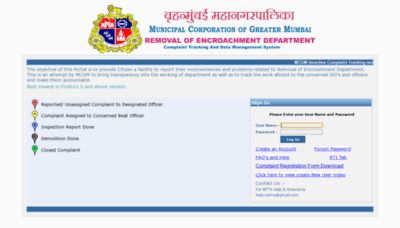 What Removalofencroachment.mcgm.gov.in website looked like in 2020 (1 year ago)