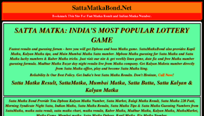 What Sattamatkabond.net website looked like in 2018 (3 years ago)