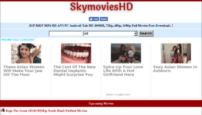 What Skymovieshd.ws website looked like in 2018 (2 years ago)