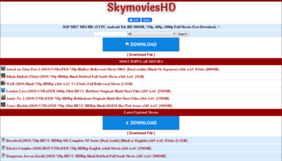 What Skymovieshd.bid website looked like in 2019 (1 year ago)