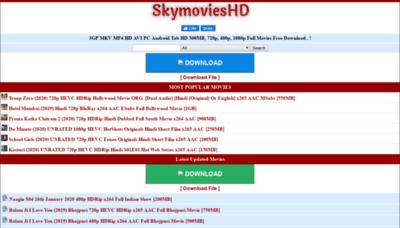 What Skymovieshd.run website looked like in 2020 (1 year ago)