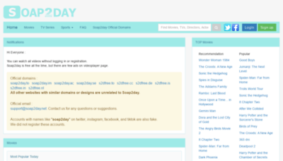 What Soap2day.cc website looks like in 2021