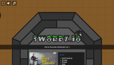 What Swordz.io website looks like in 2021