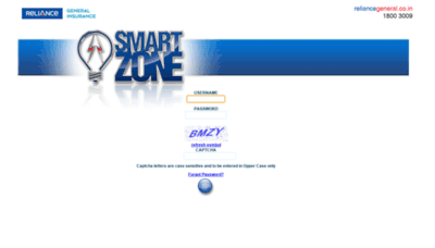 What Smartzone.reliancegeneral.co.in website looks like in 2021