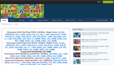 What Tamilrockers.mn website looked like in 2018 (3 years ago)