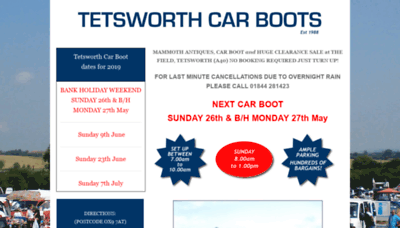 What Tetsworthcarboots.co.uk website looked like in 2019 (1 year ago)