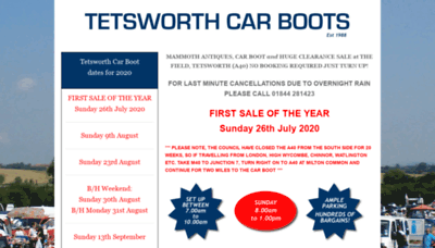 What Tetsworthcarboots.co.uk website looked like in 2020 (This year)