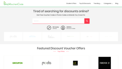 What Topvoucherscode.co.uk website looks like in 2021