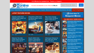 What Watchmovies.com.pk website looked like in 2020 (This year)